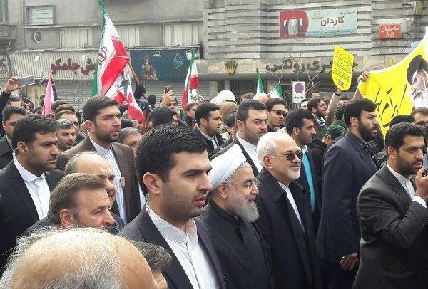 Pres. Rouhani, FM Zarif join Bahman 22 rallies