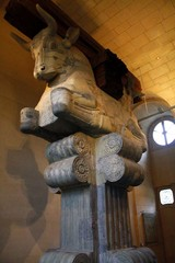 Remnants of a colossal column head being kept at the Louvre Museum. The Iranian masterpiece dates back to the Achaemenid era (ca. 550-330 BC).