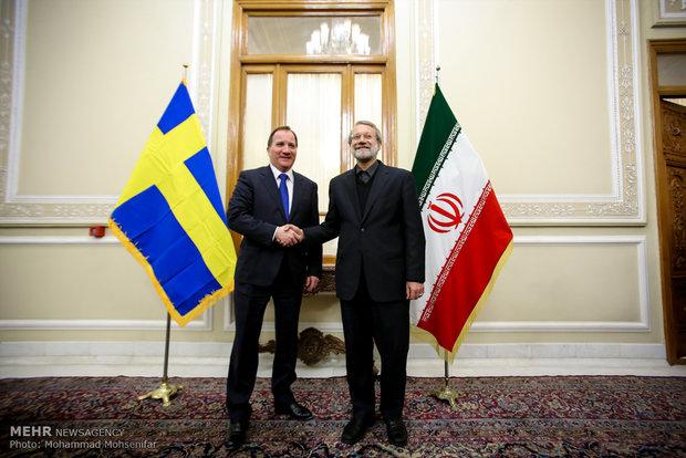 لقاء لاريجاني ورئيس الوزراء السويدي