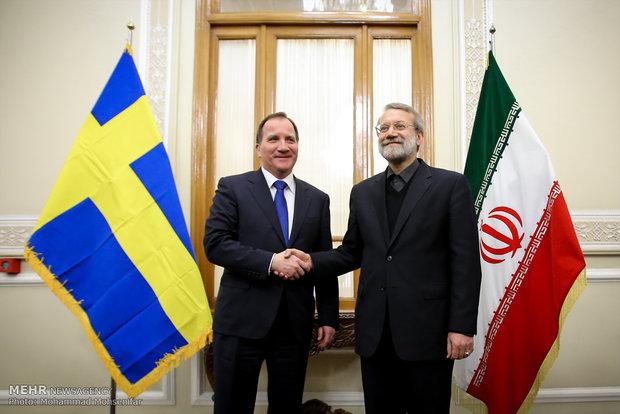 Larijani, Swedish premier meet