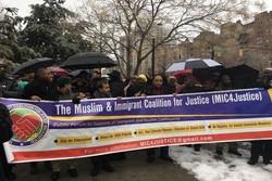 تظاهرات در میدان تایمز نیویورک در اعتراض به ممنوعیت ورود مسلمانان به آمریکا