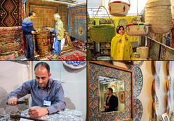 A combination photo depicts people visiting the 27th National Crafts Exhibition at the Tehran Permanent International Fairground on February, 17 2017.