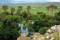 چشمه بلقیس چرام تلفیق هنرمندانه رنگ ها، درختان وچشمه سارها