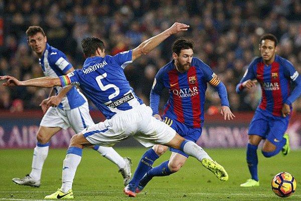 برد دشوار بارسلونا مقابل لگانس/ لیونل مسی آبی اناریها را نجات داد