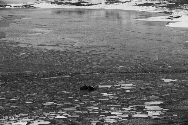 Mahabad Dam frozen in wintern in winter