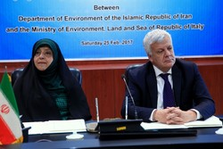 epartment of Environment Masoumeh Ebtekar (L) and Italian Minister of the Environment Gian Luca Galletti
