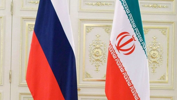 Iran and Russia flags