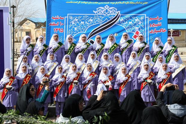 تصاویر/ مراسم تشییع و خاکسپاری دو شهید گمنام در خمین
