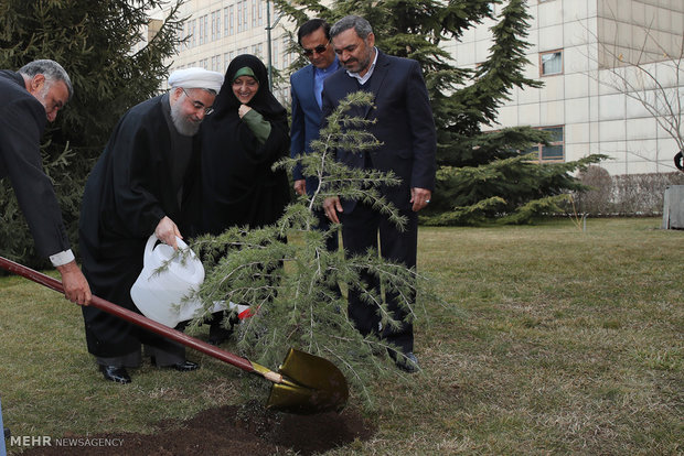 Rouhani plants a sapling on Natl. Arbor Day