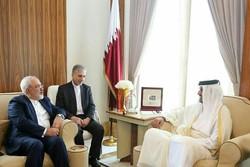 ظريف يلتقي بأمير دولة قطر في الدوحة