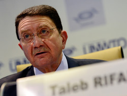 Secretary-General of the United Nations World Tourism Organization (UNWTO) Taleb Rifai makes a speach in an undated photo