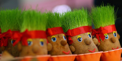 Green sprouts are sold in small clay containers at a market in Tehran for Noruz, the Persian New Year