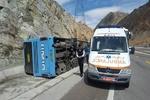 واژگونی اتوبوس اسکانیا در جاده هراز/ ۳ نفر راهی بیمارستان شدند