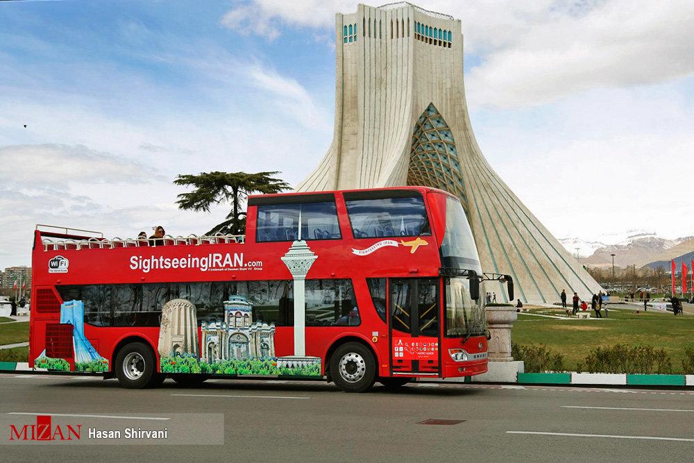 Double-decker bus offers hop-on, hop-off tour in Tehran