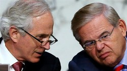 US Republican Senator Bob Corker (left) and Democratic Senator Robert Menendez (AP file photo)