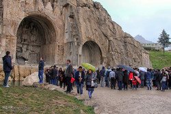 Tourists visit Taq Bostan during Nowruz holidays