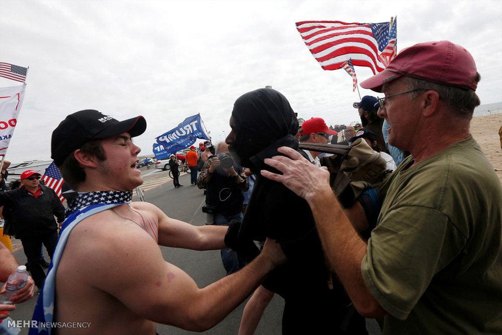 زد و خورد در تظاهرات حامیان ترامپ