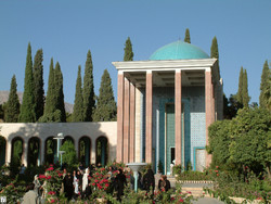 An undated photo shows travelers visiting Sadi mausoleum in Shiraz, the capital of Fars Province