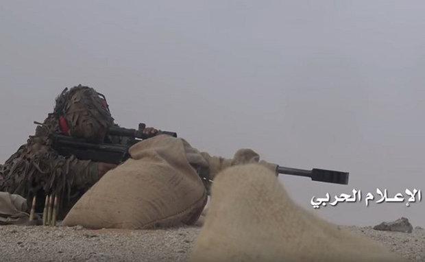 هدف قرار گرفتن نظامی سعودی توسط تکترانداز یمنی