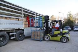 ارسال کامیون اقلام خوراکی برای زلزله