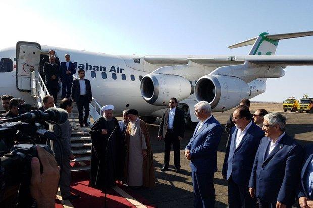 رئيس الجمهورية يصل الى مدينة سمنان