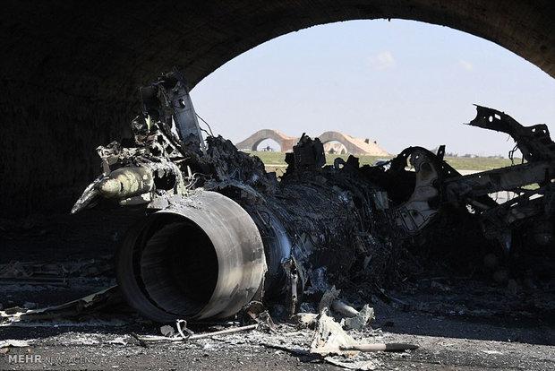 Fotoğraflarla Suriye'deki askeri üssün uğradığı hasar