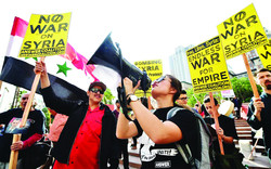 Anti-war groups protest U.S. strikes against Syria