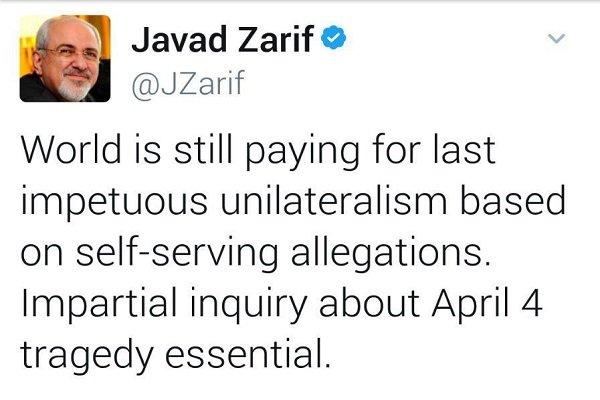 """ظريف: من الضروري إجراء تحقيق عادل في حادثة """"خان شيحون"""""""
