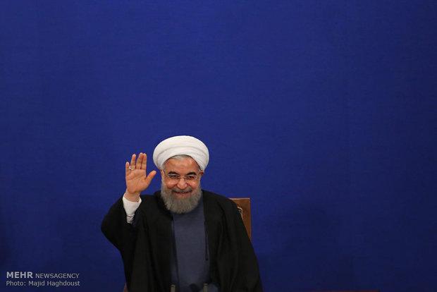 Cumhurbaşkanı Ruhani'nin basın toplantısından kareler