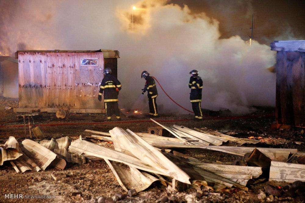 آتش سوزی در کمپ پناهجویان در فرانسه