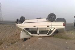 واژگونی خودرو در جاده روستایی غرق آباد/ ۵ نفر مصدوم شدند