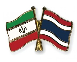 A depiction of Iran-Thailand national flags