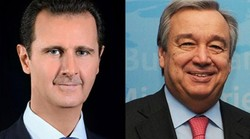 Assad receives congratulation cable from Guterres on Independence Day