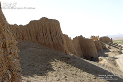 A detail of an ancient citadel in Belqeys historical city, northeast Iran