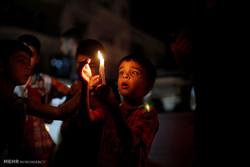رات کے وقت غزہ کا تاریک منظر