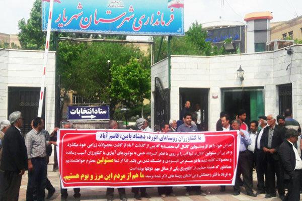 اعتراض کشاورزان شهریار