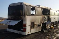 آتش سوزی اتوبوس در قم