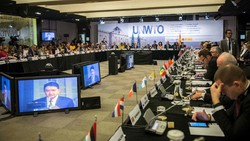 UNWTO Secretary General Taleb Rifai addresses the 105th UNWTO Executive Council in Madrid, Spain on May 12, 2017.