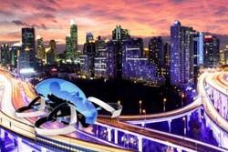 روشن کردن مشعل المپیک ۲۰۲۰ با خودروی پرنده