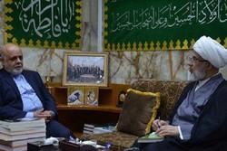 السفير الايراني في العراق يلتقي ممثل آية الله السيستاني في كربلاء