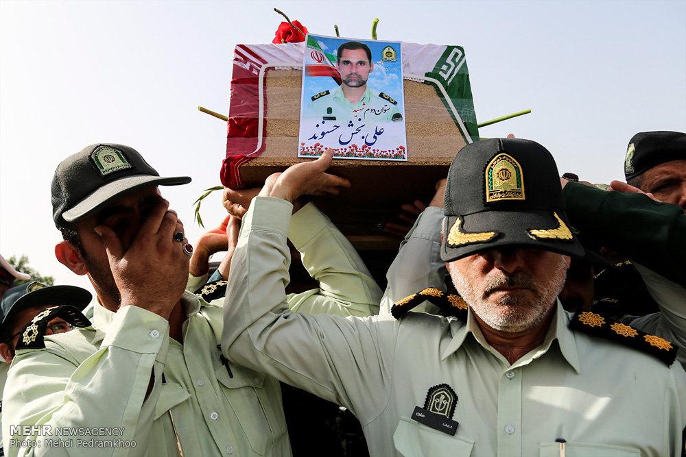 آیین تشییع پیکر دو شهید نیروی انتظامی در حادثه تروریستی اهواز