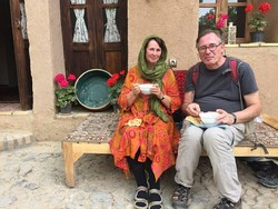 An undated photo shows foreign travelers at Tavasolian eco-lodge in Natanz, Ishafan province