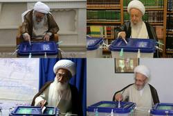 مراجع الدين الايرانيون في قم يدلون بأصواتهم في الانتخابات /فيلم