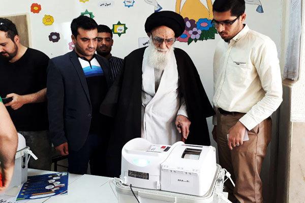 آیت الله محمودی گلپایگانی رای خود را به صندوق انتخابات انداخت