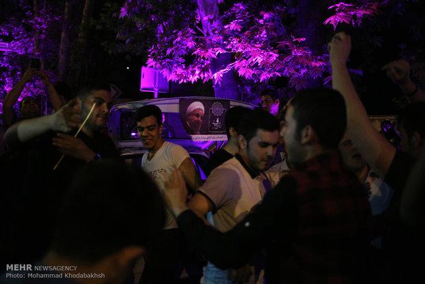 شادی هواداران حسن روحانی در تهران -۳