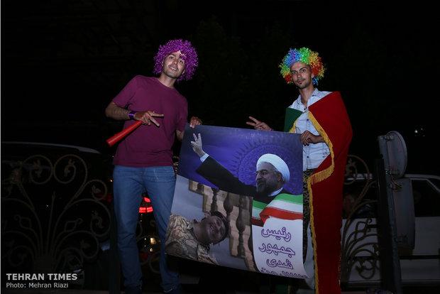 Celebrations across Tehran after Rouhani win