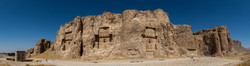 A view of Naqsh-e Rustam in Fars province. Located about 12 km northwest of Persepolis, the historical necropolis embraces rock-hewn royal tombs and bas-relief carvings associated with the Achaemenid
