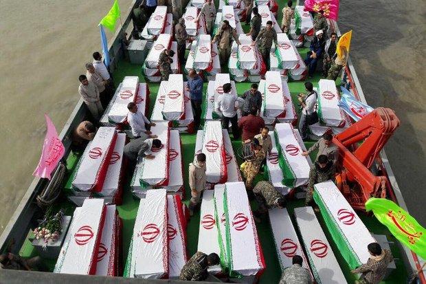 ۱۳۵ شهید تازه تفحص شده از طریق آبراه اروند وارد کشور شدند