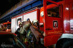 مانور واژگونی تانکر سوخت و اطفای حریق در بزرگراه شهید حقانی