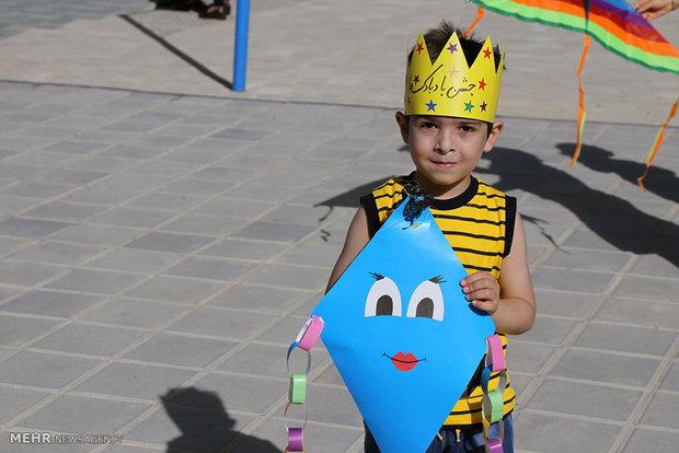 Children fly kites in Sanandaj festival of kites
